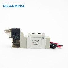 Nbsanminse válvula solenoide pneumática, mini solenoide de 3000 m5 g1/8, válvula eletromagnética de 2 posições e 5 vias para automação tipo smc