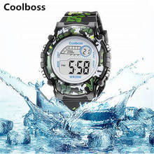 Army Green Camouflage Watch Fashion Children Watches Coolboss Good Quality Brand Kids Baby Wristwatch Waterproof Students Gift