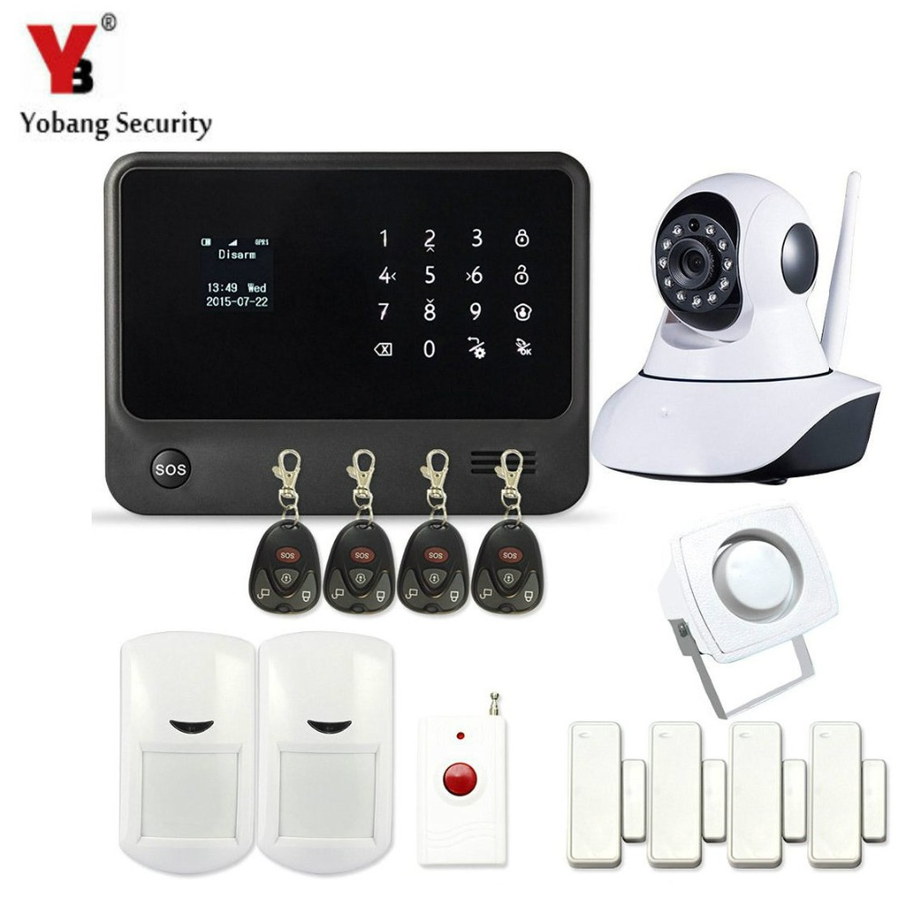 YobangSecurity WIFI GSM Home Burglar Alarm System Touch Keypad Android IOS APP Control IP Camera Panic Button Door Window Sensor yobangsecurity gsm wifi burglar alarm system security home android ios app control wired siren pir door alarm sensor