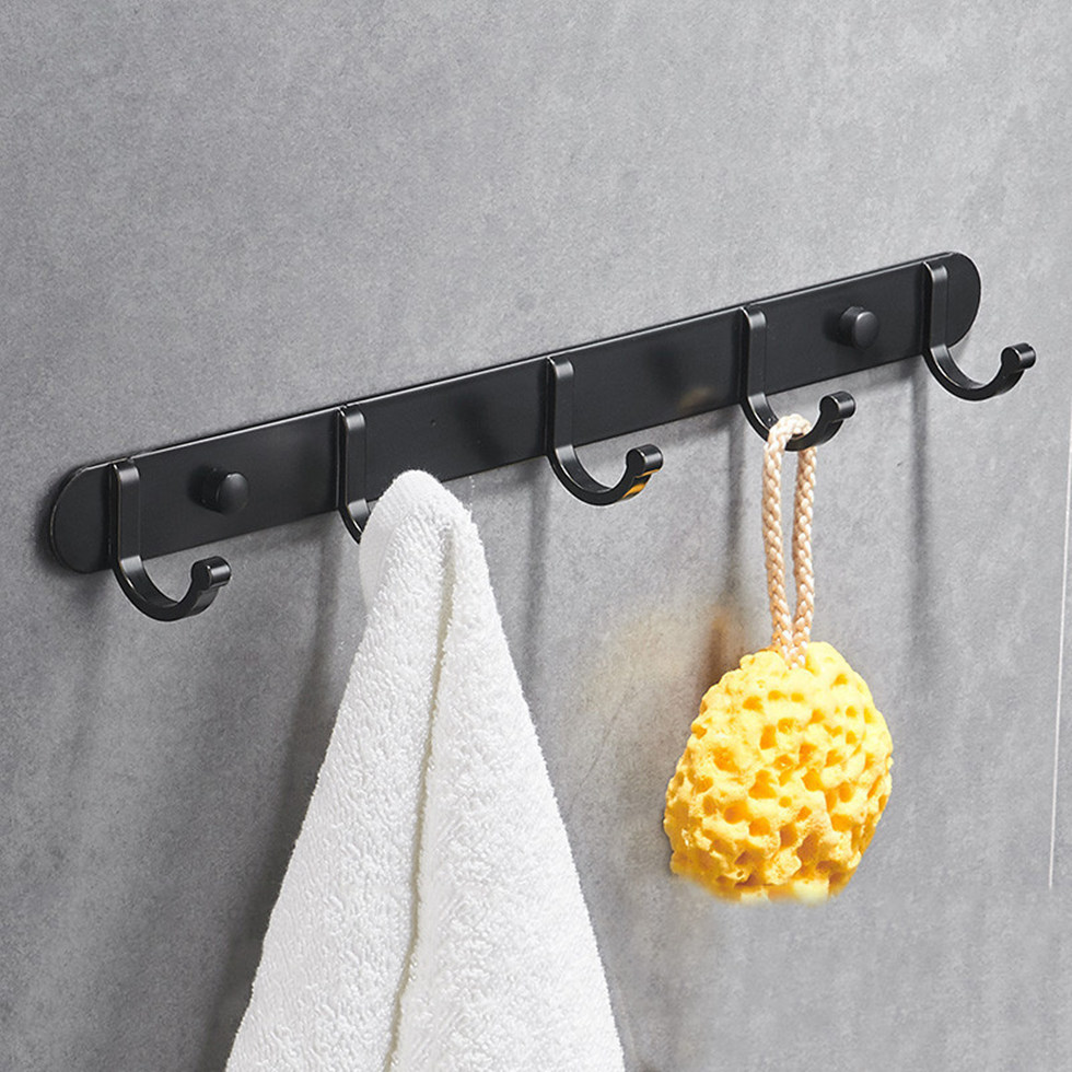 Home Improvement Bathroom Fixtures Black White Wall Hook Shelf Aluminum Bathroom Towel Holder Towel Rack Cloth Robe Hook Coat Hanger Balcony Accessories Etagere Without Return
