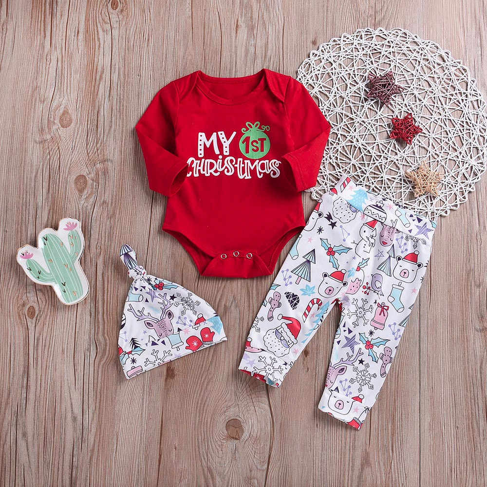 3PCS Christmas Set Newborn Baby Boy Girl Long Sleeved O-Neck Letter Printed Tops Deer Cartoon Pants+Hat Clothes Outfits Clothing