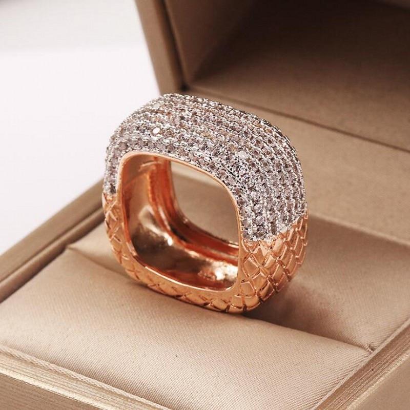 2019 nouveauté bijoux de mode chaude 925 en argent Sterling et or remplir Double couleur pavé 5A zircon cubique femmes bague de mariage - 3