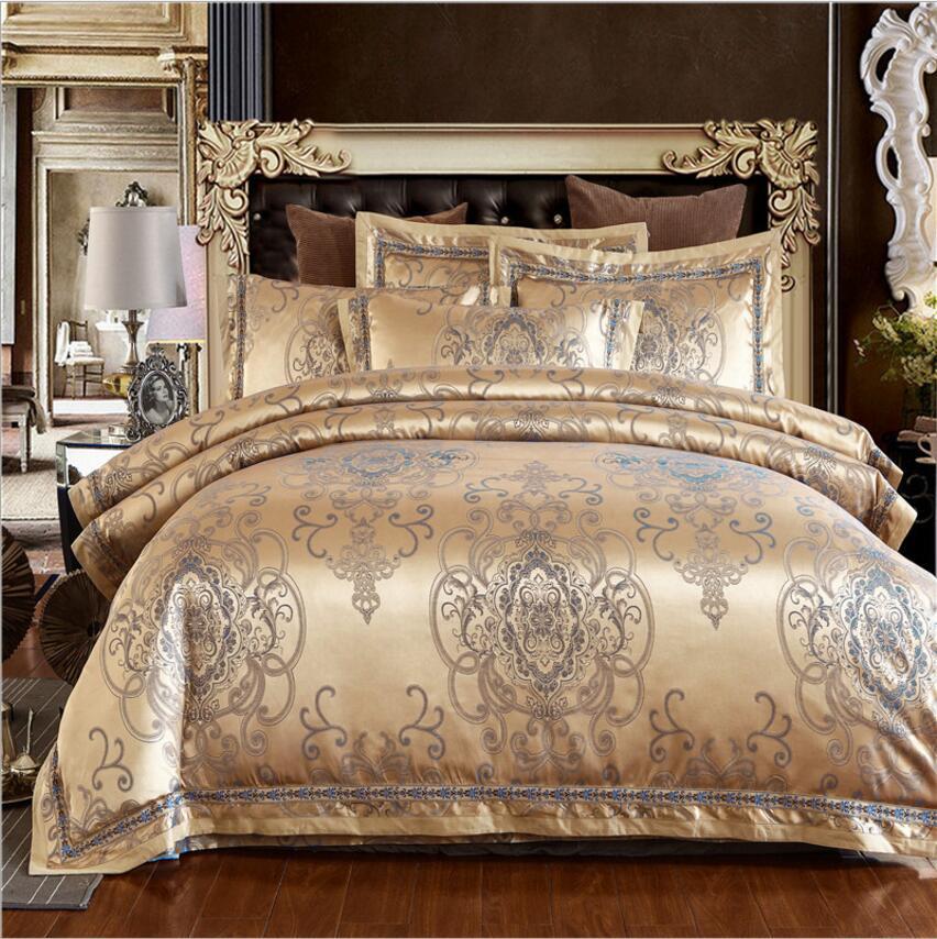 Luxury Wedding Royal Bedding Set Stain Jacquard Bedclothes Bed set King Queen Size Cotton Bed sheet Linen Duvet Cover set