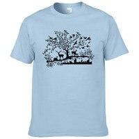 2018 creative design Deer tree bird rabbit animal printed T shirt 2017 summer fashion cotton 94