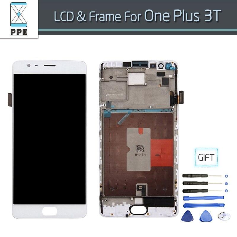 Telefone Original LCD Display LCD de tela para Oneplus 3 T A3010 um mais 3 T Tela LCD Assembléia Painel com Moldura Presente ferramentas