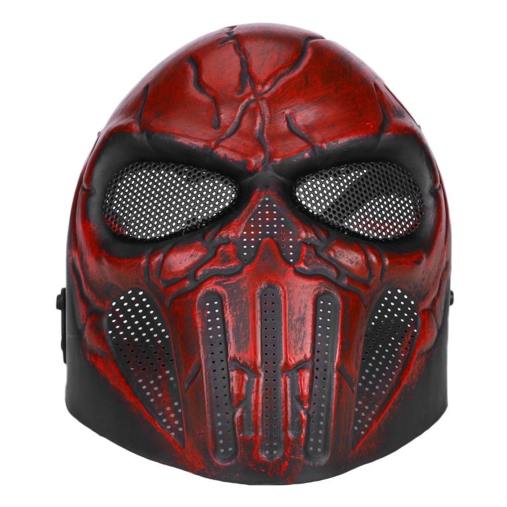 Wospor Tactical Full Face Paint Ball Skull Mesh Safety Protection Mask Goggles Outdoor
