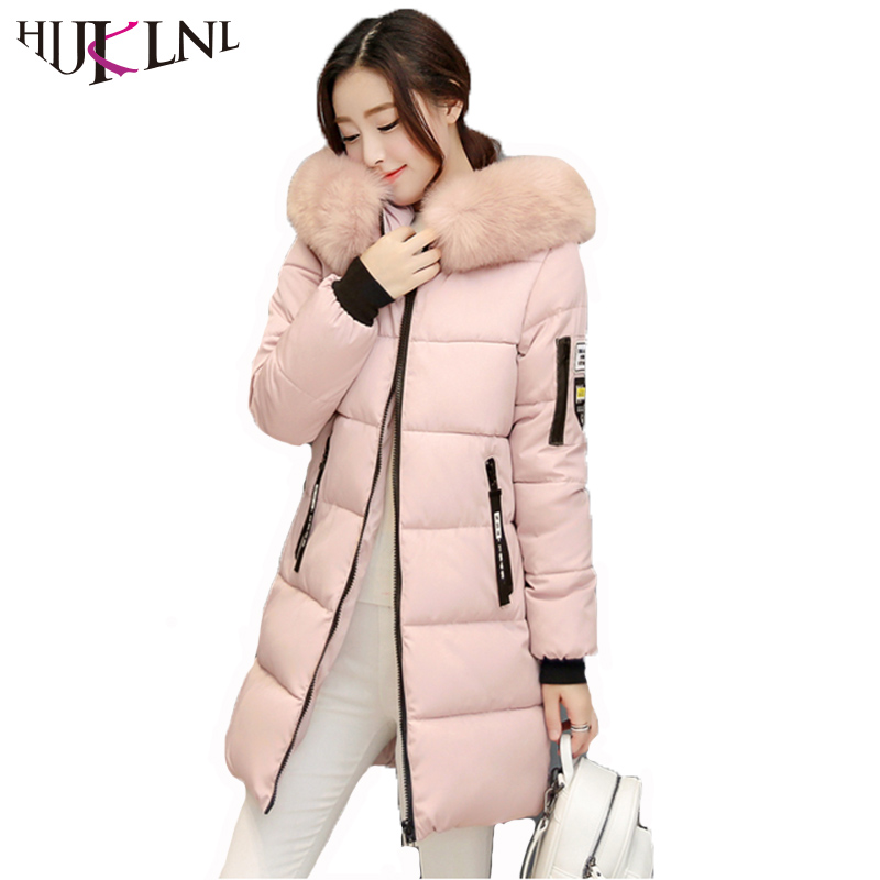 HIJKLNL Plus Size Winter jacket Women 2017 Mid-long Thicken Warm Cotton-Padded Parkas Coat Faux Fur Collar Hooded Jacket NA432 2015 new hot winter thicken warm woman down jacket coat parkas outwewear hooded loose brand luxury high end mid long plus size l