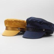 Британский винтажный военный головной убор для женщин атласный плоский топ темно-синяя шляпа бейсболка для девочек солнцезащитный козырек Кепка с якорем береты NZ078