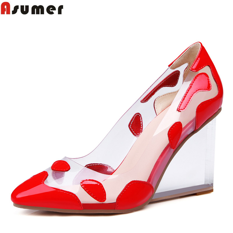 Asumer new arrive high quality genuine leather fashion women pumps wedges pointed toe slip-on large size 33-41 lady party shoes asumer high heels large size 33 41 office shoes pointed toe square heels slip on women pumps sequined black apricot lady shoes