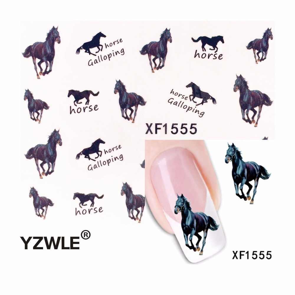 Yzwle 1 Cái Ngựa Móng Thiết Kế Nghệ Thuật Nước Miếng Dán Móng Tay Làm Đẹp Len Viền Ba Lan Đề Can Hình Xăm Tạm Thời Thủy