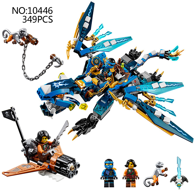 349pcs Ninjagoes Jay's Elemental Dragon Ninja Bricks Compatible with Legao 70602 Models Building Blocks toys for children gifts 4pc set ninjagoes dragon knight building blocks kids hot toys ninja bricks mini action figures enlighten toy for children friend