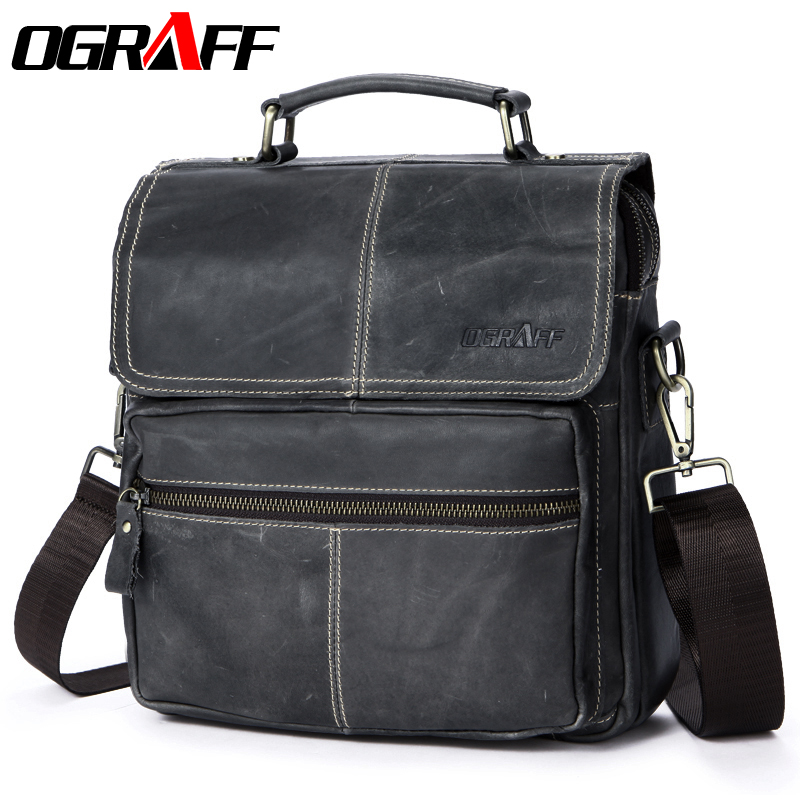 OGRAFF Genuine leather bags men shoulder bag messenger bags men leather handbag designerTablets briefcase crossbody bags handbag ograff genuine leather bag men messenger bags handbag briescase business men shoulder bag high quality 2018 crossbody bag men