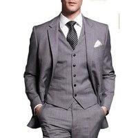 Shiny silber grau smoking One Button Smoking Hochzeitgroomsman Anzug Braut GroomBest Herren Anzüge 3 Stücke Jacke + Pants + weste