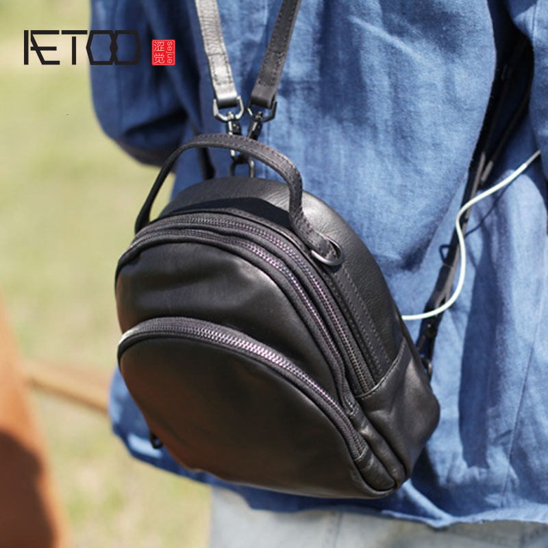 AETOO Black top first cowhide backpack geunine leather three use bag Korean version of soft leather