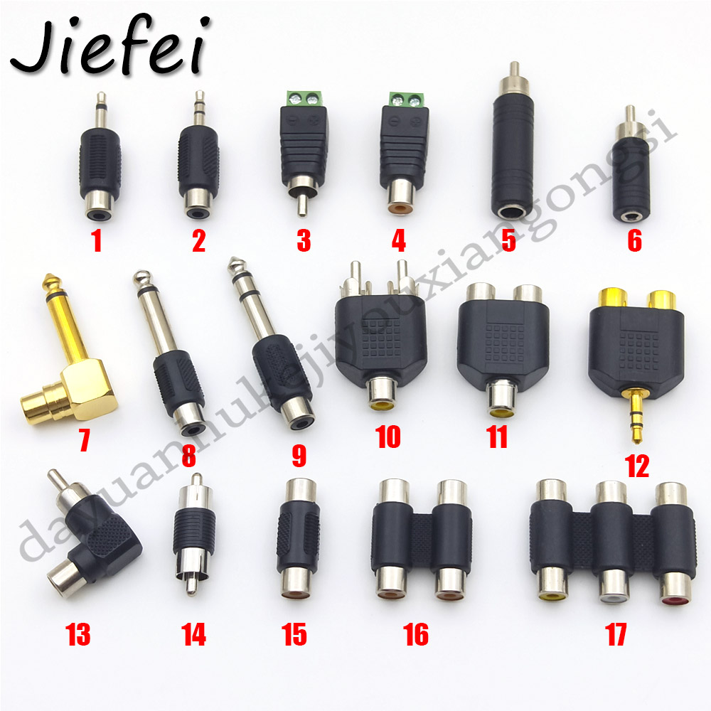 17 Types Of RCA Adapters Audio Plug Connector RCA Male Female To RCA 3.5mm 6.35mm Mono Stereo Male Female Connector