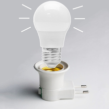 2019 New Portable E27 Lamp Holder EU Plug LED Light Base Male Socket Adapter Converter With Free Gift E27 LED Bulb e27 lamp socket lamp base 2017 light holder us eu plug lighting fixture connector accessories