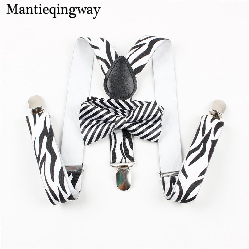 Mantieqingway Classic Children Suspenders Baby Boys Girls Black Striped Suspender 3 Clip-on Y Back Braces Elastic Kids Suspender