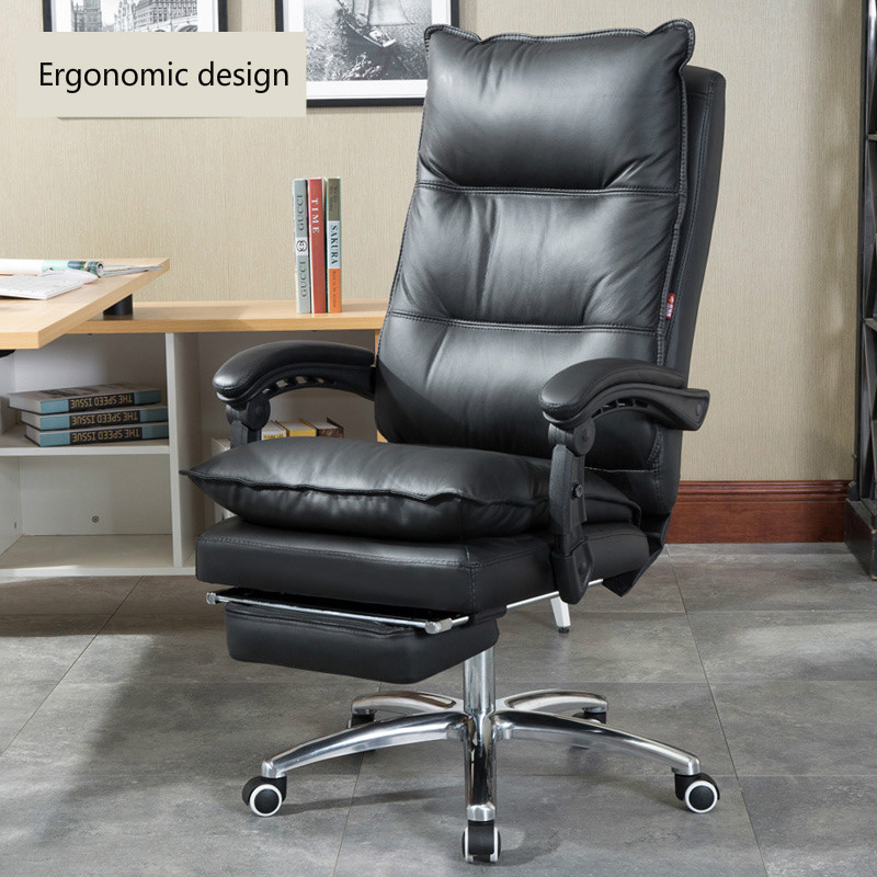High Quality Leather Home Computer Chair Comfortable Reclined Boss Chair Special Ergonomic Swivel Seat Anchor Beauty Chair Silla