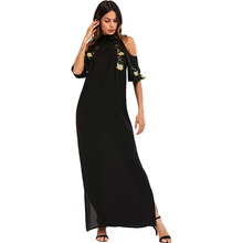 #187015 Korea Style Muslim Women Embroidered Strapless Offshoulder Arabian Womens Fashion Dresses Robes for