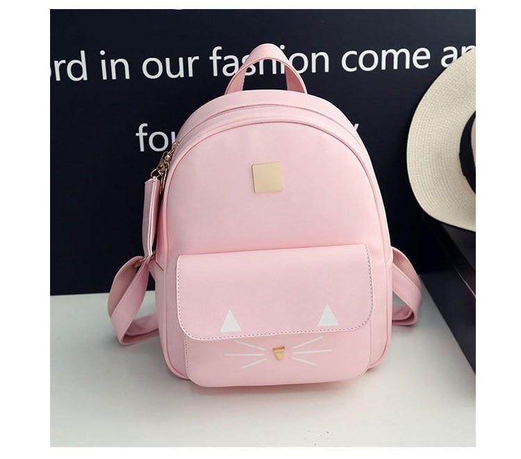 Dropwow Hot Sale Cat Printing Backpack PU Leather Mini Backpacks ... e127a6a2a63f9