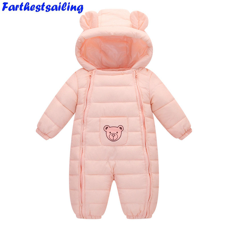 Baby Rompers Spring Winter Thick Cotton Boys Costume Girls Warm Newborn Clothes Kid Jumpsuit Children Outerwear Enfant Wear christmas 2017 brand new winter newborn infantil baby rompers kid boys and girls clothing real fur jumpsuit down overall jacket