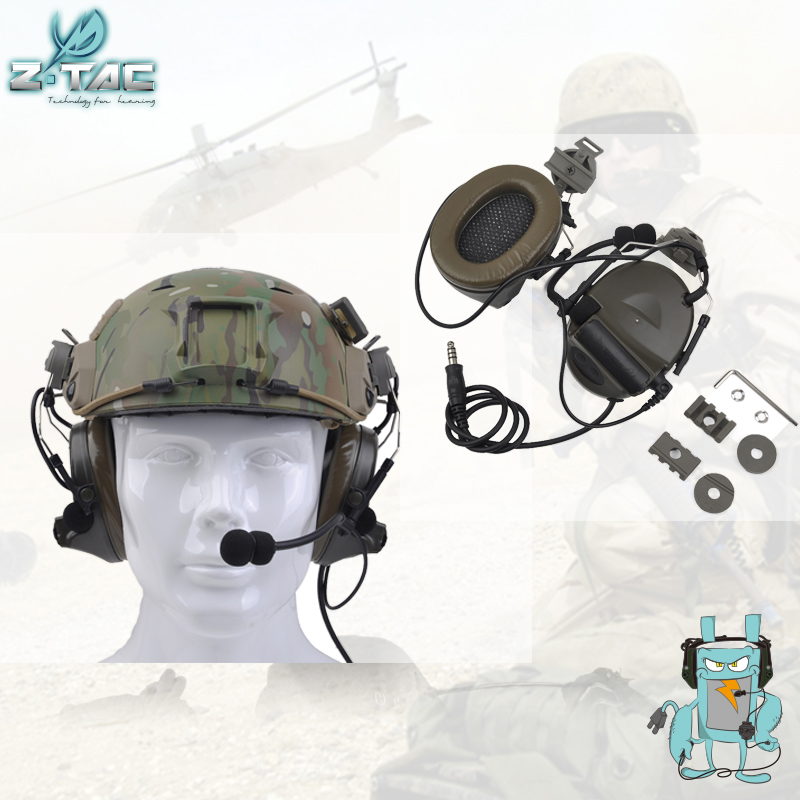 Element Z-TAC Z031 Comtac II Headset With Peltor Helmet Rail Adapter Set For FAST Helmets Military Airsoft Tactical Headphone