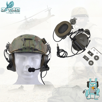 Element Z-TAC Z031 Comtac II Headset With Peltor Helmet Rail Adapter Set For FAST Helmets Military Airsoft Tactical Headphone цена 2017