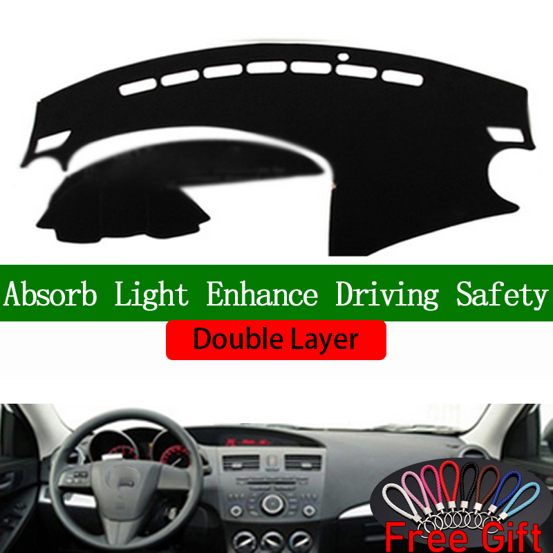 Double Layer Car Stickers For <font><b>mazda</b></font> <font><b>3</b></font> 2011 <font><b>2012</b></font> 2013 Dashboard Cover Car <font><b>Accessories</b></font> Interior Anti-UV Car Decals image