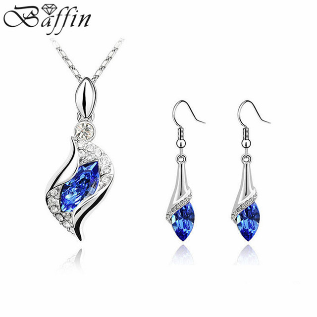 Fashion jewelry sets crystal channel necklace Earrings made with Swarovski  Elements jewellery for women 7b079d444c0a