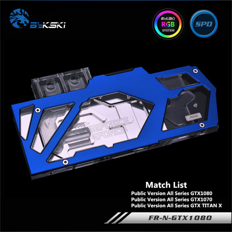 Bykski Full Coverage GPU Water Block For Public Version GTX1080 GTX1070 New TITAN X Graphics Card FR-N-GTX1080 2pcs lot gtx1080 gtx1070 gtx1060 gpu cooler fans video card fan for msi gtx 1080 1070 1060 gaming gpu graphics card cooling