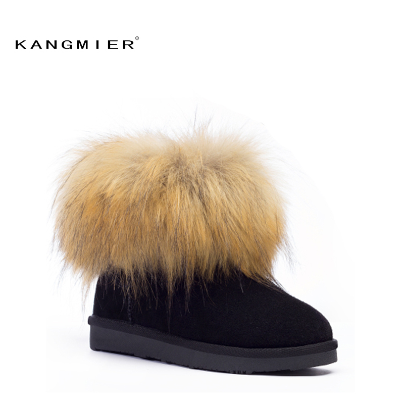Winter Snow Boots Women Fox Fur Australian Genuine Leather Womens ug rubber Short Ankle Boots Black Coffee Maroon