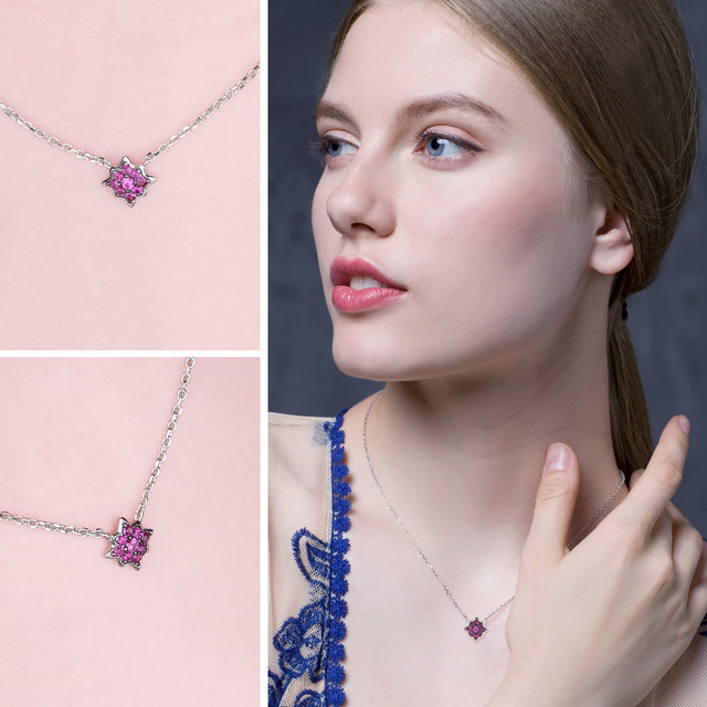 0.2ct Created Ruby Flowers Necklace With Chain 2