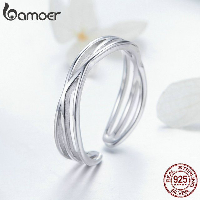 BAMOER Authentic 925 Sterling Silver Geometric Twisted Wave Open Size Finger Rings Women Wedding Engagement Jewelry SCR483 2