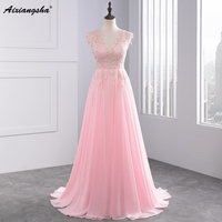 Robe De Soiree Evening Dress Long Sheer Neck Appliqued Pearl Formal Evening Gowns Prom Dresses Vestido