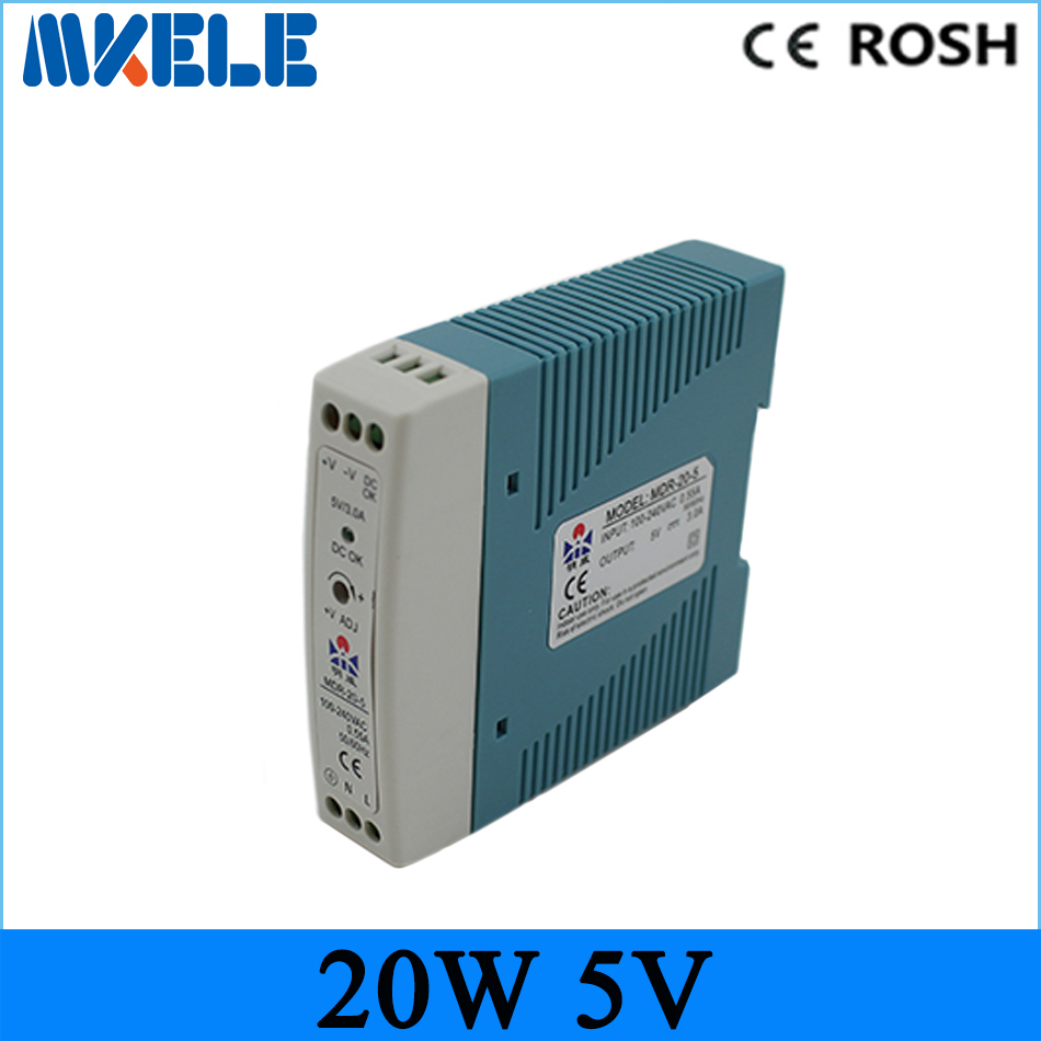 free shipping Micro din rail power supply ac dc mdr-20-5 mini size 20w 5v 4A Switching Power Supply for LED Strip light mdr 10 5 din rail switching power supply mini size 10w 2a 5v ac dc power supply with ce