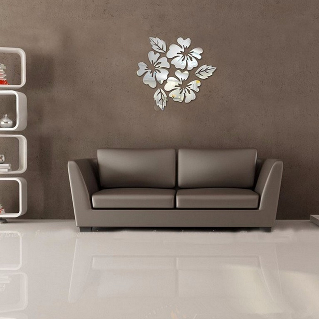 3D sticker new design flowers art sofa bed background modern acrylic home decoration diy mirror wall stickers 5