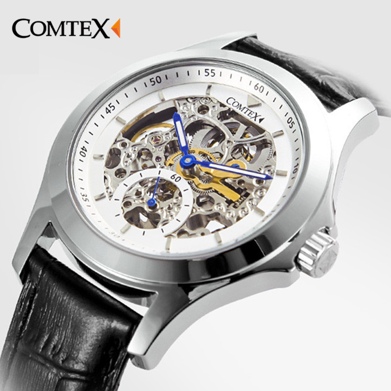 New Hot Sale Skeleton Hollow Fashion Mechanical Hand Wind Men Luxury Male Business Leather Strap Wrist Watch relogio masculino  1pcs men s luxury mechanical wristwatch skeleton watches hand wind up leather strap free shipping wholesale relogio masculino j5