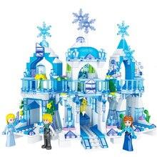 463pcs Princess Serie Elsa Magical Ice Castle Set Educational Building Block Bricks Toy For Kids Compatible Legoings Friends