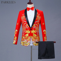 Chinese Red Embroidery Suit Men Wedding Groom Tuxedo Suits Men 2 Piece Shawl Collar Suit (Jacket+Pants) Stage Singer Costumes