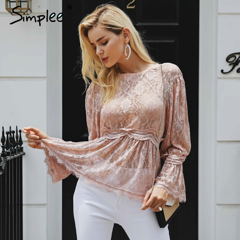 Simplee Sexy lace peplum   blouse     shirt   women Elegant ruffles hem flare sleeve white   blouse   female Casual hollow out summer tops