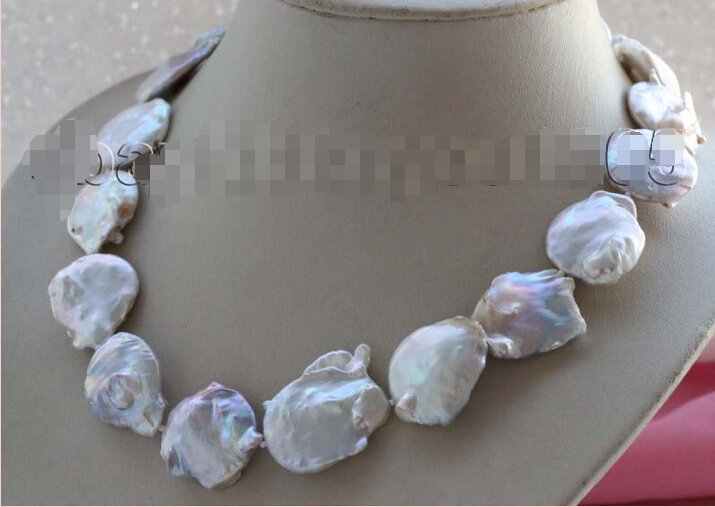 free shipping > 18 Genuine Natural 22x25mm white Reborn Keshi Pearl necklace #f1874! 6.07