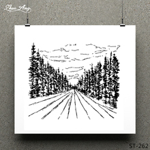ZhuoAng Forest Path Clear Stamp for Scrapbooking Rubber Seal Paper Craft Stamps Card Making