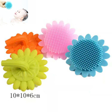 Infant Baby Soft Silicone Bath Brush Large Size High Quality  Shower Wash Hair Sunflower Shape Face Cleaning Pad Skin SPA Scrub high quality soft wash nail cotton pad white 400 pcs