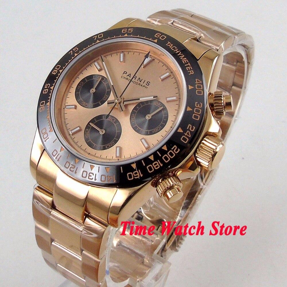 De luxe 39mm D'or de PARNIS hommes montre Chronographe Complet d'or cadran lumineux verre saphir mouvement quartz chronomètre hommes 1180