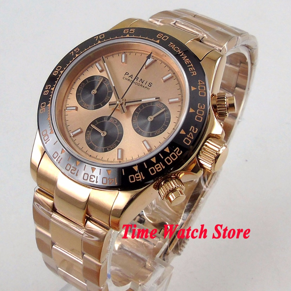 Luxury 39mm Golden PARNIS men's watch Full Chronograph golden dial luminous sapphire glass Quartz movement stop watch men 1180 цена и фото