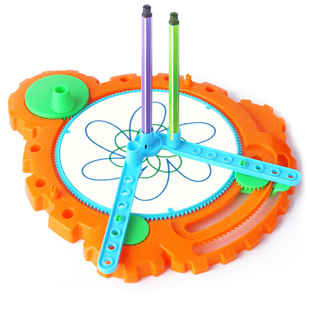 Kids Fun Novelty Toy Gift Anti-stress Boys Girl Drawing Board Geometric Ruler Stencil Spiral Art Classic Stationery Toy