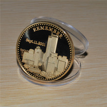 24Kt Gold Coin New York City United we Stand Man LIBERTY & JUSTICE USA 911Coin,World Trade Centre 50pcs/lot Free Shipping