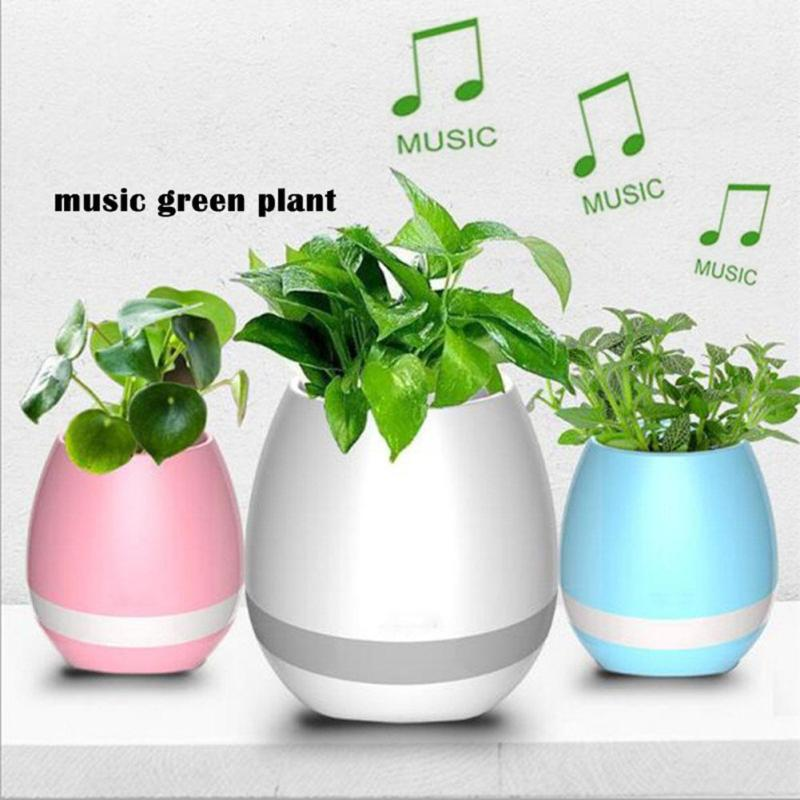 Smart Colorful LED Bluetooth 3.0 Music Vase Speaker Real Plant Touch Sensing Flower Pot USB Charge Waterproof Wireless #45