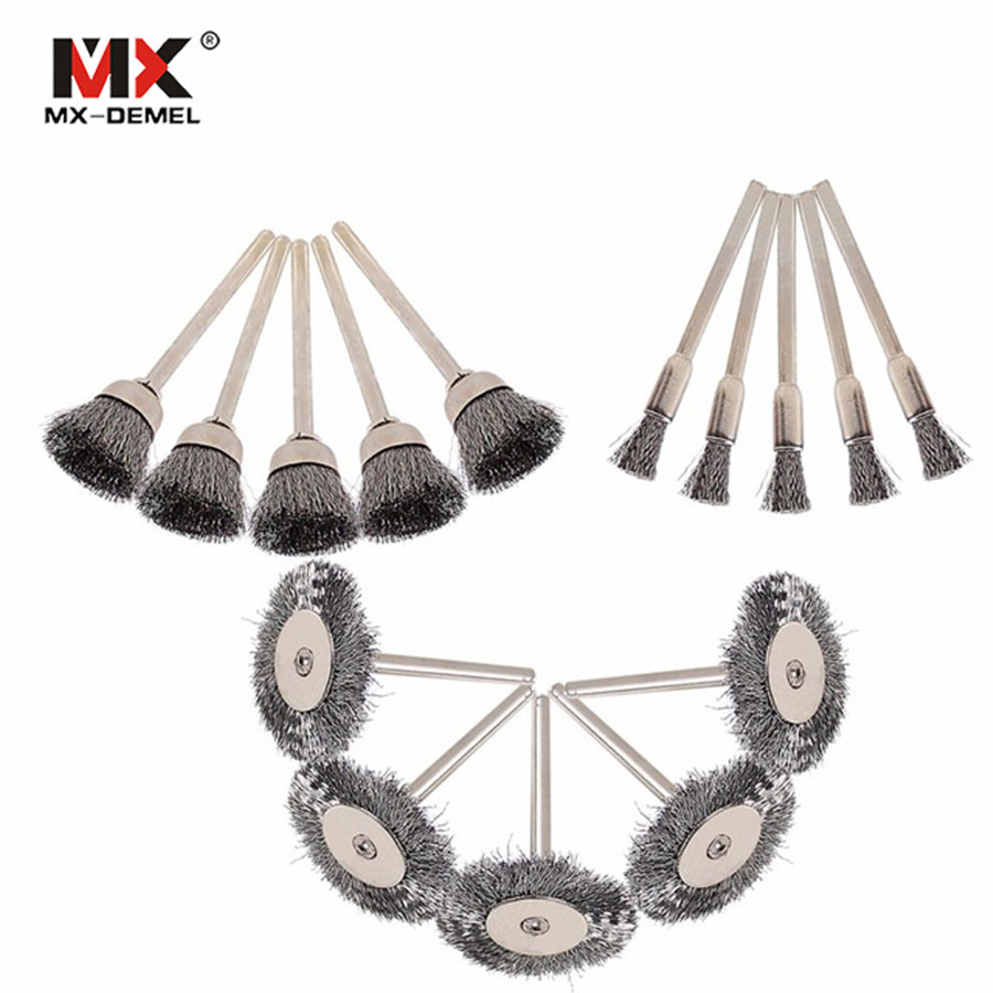 MX-DEMEL 15Pcs Steel Wire Wheel Dremel Wire Brush Burr Abrasive Head Deburring for Drill Tools Wheels Dremel Tools Accessories mx demel high quality 17pcs 1 2 felt polishing wheels dremel accessories fits for dremel rotary tools dremel tools small