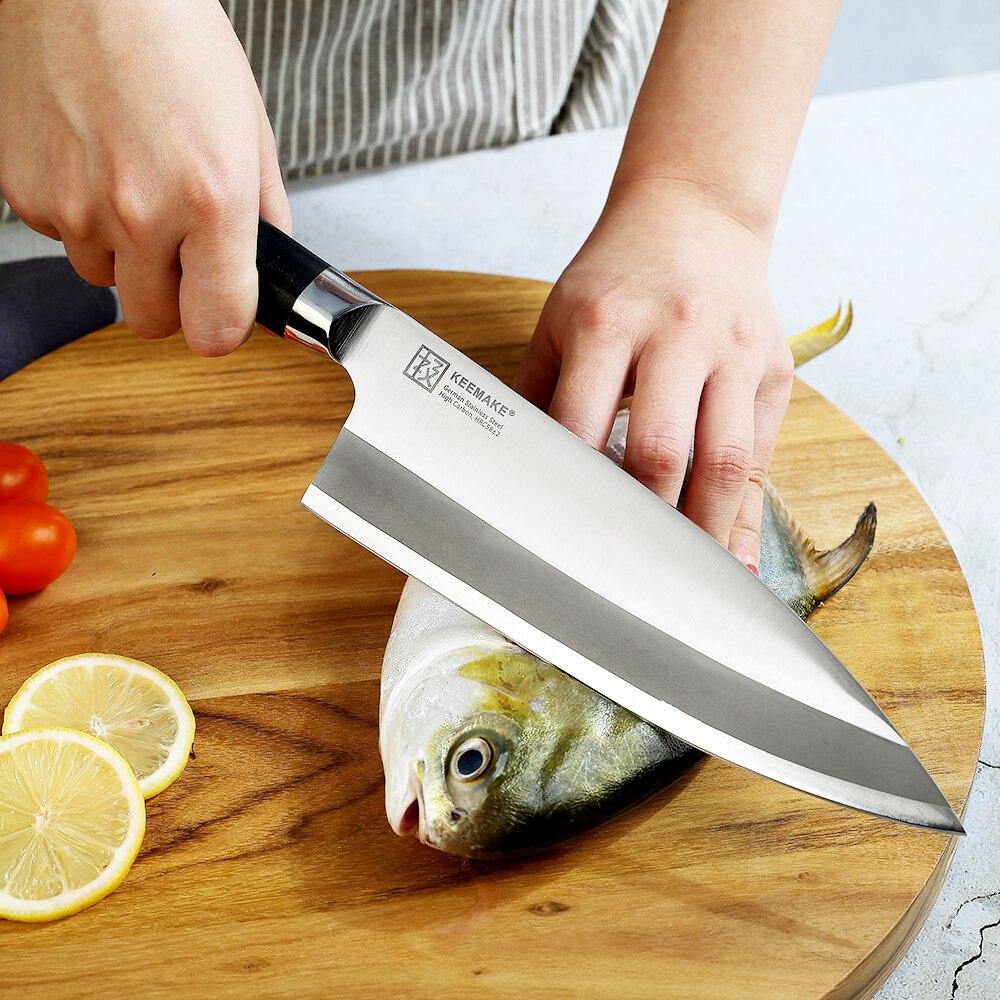 """KEEMAKE 8,25 """"/6,5"""" pulgadas Deba cuchillo de Chef Sashimi cuchillos de cocina alemán 1,4116 la maquinilla de afeitar del acero hoja afilada G10 mango cuchillo de corte-in Cuchillos de cocina from Hogar y Mascotas    2"""